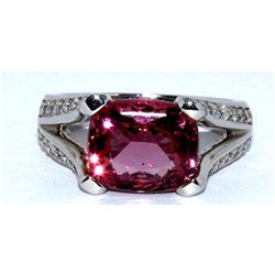 Spinel  4.8 ctw  &  Diamond Ring 14KW