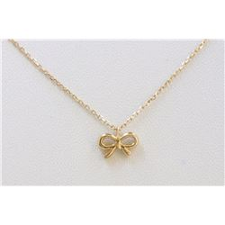 14K YELLOW GOLD BOW PENDANT WITH CHAIN:2g/Diamond:0.03ct