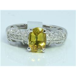 14K WHITE GOLD RING 4.1 GRAM  DIAMOND 0.33CT YELLOW SAPPHIRE 1.65CT