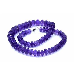 650 ct & up AmethystFaceted Vintage Smooth Rondelle  Beaded Necklace