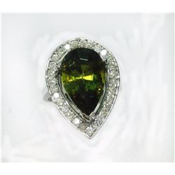 SPHENE 6.20CT, 14K WHITE GOLD RING 5.67GRAM / DIAMOND RD 0.63CT