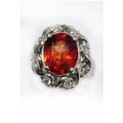 SPESSARTITE OVAL 3.43CT, 14K W/G RING 6.15GRAM / DIAMOND RD 0.27CT