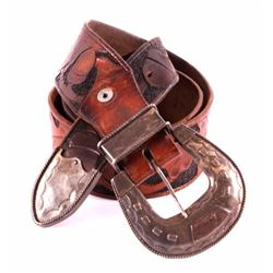 Sterling Silver Ranger Buckle Set and Leather Belt