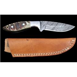 Damascus & Rocky Mountain Rams Horn CFK Knife