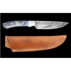 Damascus & Exotic Camel Bone CFK Custom Knife