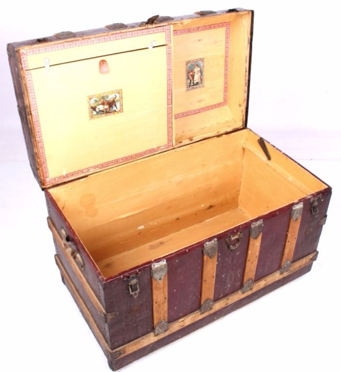 Antique Corbin Cabinet Lock Co. Steamer Trunk