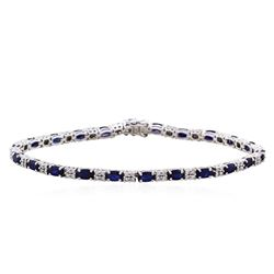 14KT White Gold 5.51ctw Sapphire and Diamond Bracelet
