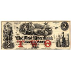1800's $2 West River Bank Vermont Obsolete Currency Note