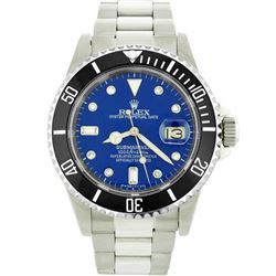 Mens Rolex Stainless Steel Date Submariner Watch with Blue Diamond Dial