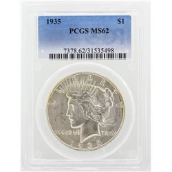 1935 Peace Silver Dollar Coin PCGS Graded MS62