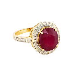 14KT Yellow Gold 5.71ct Ruby and Diamond Ring