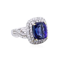 14KT White Gold 5.84ct Tanzanite and Diamond Ring