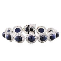 14KT White Gold 61.74ctw Star Sapphire and Diamond Bracelet
