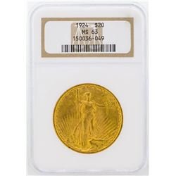 1924 $20 St. Gaudens Double Eagle Gold Coin NGC MS63