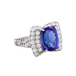 14KT White Gold 6.95ct Tanzanite and Diamond Ring