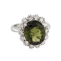 14KT White Gold 6.15ct Green Tourmaline and Diamond Ring