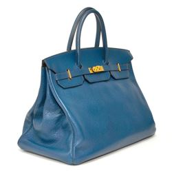 Authentic Vintage Hermes 40cm Blue Birkin Ardenne Leather With Gold Hardware