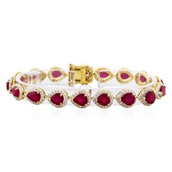 14KT Yellow Gold 17.63ctw Ruby and Diamond Bracelet