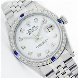 Mens Rolex Stainless Steel Diamond and Sapphire Datejust Wristwatch