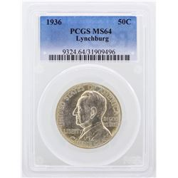 1936 Lynchburg Half Dollar Coin PCGS Graded MS64