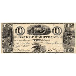 1800's $10 Bank of Washtenaw Michigan Obsolete Currency Note