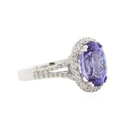 14KT White Gold 4.65ct Tanzanite and Diamond Ring
