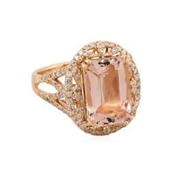 14KT Rose Gold 5.52ct Morganite and Diamond Ring