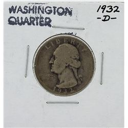 1932-D Washington Quarter Key Date Silver Coin