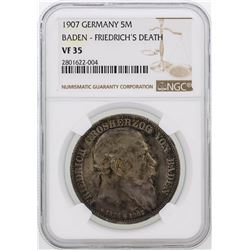1907 Germany 5M Baden Friedrich's Death Coin NGC Graded VF35
