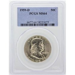 1959-D Franklin Half Dollar PCGS Graded MS64