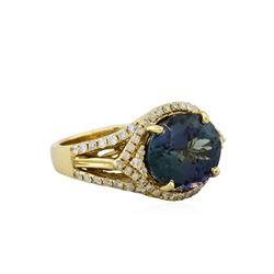 14KT Yellow Gold 6.19ct Tanzanite and Diamond Ring