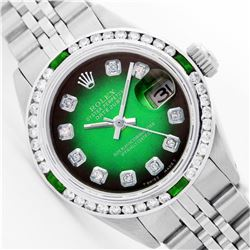 Womens Rolex Stainless Steel Diamond and Emerald Datejust Wristwatch