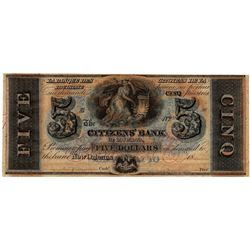 1800's $5 Citizens Bank of Louisiana New Orleans Obsolete Currency Note