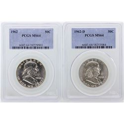 Set of 1962 & 1962-D Franklin Half Dollar PCGS Graded MS64
