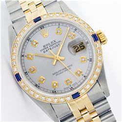 Mens Rolex Two Tone Sapphire and Diamond Datejust Wristwatch
