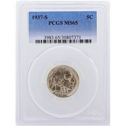 1937-S Buffalo Nickel Coin PCGS Graded MS65