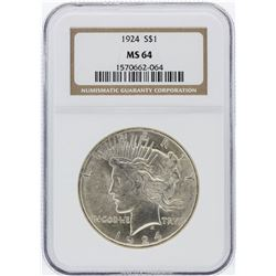 1924 NGC MS64 Peace Silver Dollar