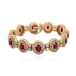 14KT Rose Gold 10.89ctw Ruby and Diamond Bracelet