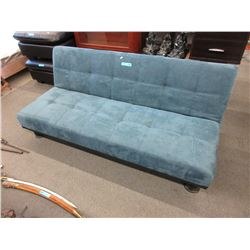 Blue Microfiber Convertible Sofa