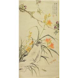 Painting of Lily Signed Jiang Hanting 1903-1963