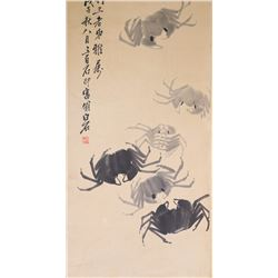 Chinese Watercolour Crab Qi Baishi 1864-1957