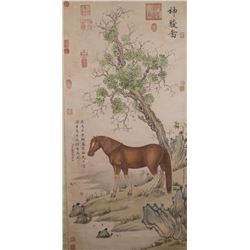 WC Horse Scroll Wang You Dun 1692-1758