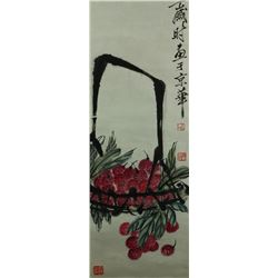 Chinese WC Flowers Scroll Qi Baishi 1864-1957