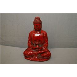 "Chinese Cinnabar Buddha 7"" in height"