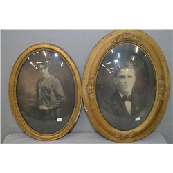 Two antique convex glass gilt framed portraits