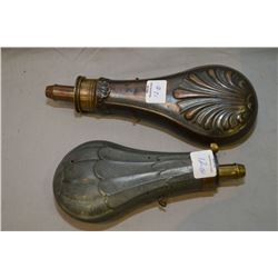 Two antique metal powder horns