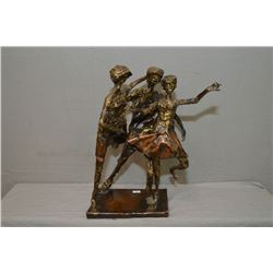 "Cast bronze sculpture featuring three figures dancing signed by artist, 16"" in height"