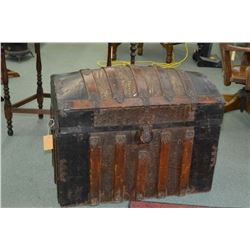Antique dome topped trunk with decorative metal and oak binding and original divided tray with paper