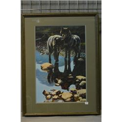 "Framed limited edition print ""Double Take, Black Wolves"", pencil signed by artist Maurade Baynton 34"