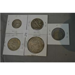 Selection of American silver coins including 1897 Morgan dollar, 1948 Franklin half dollar, 1943 Lib